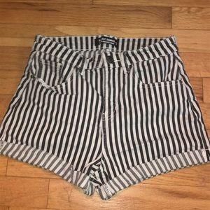 Black/white striped shorts